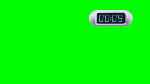 10 second Digital Countdown Timer, Counter. Right, white, isolated Animation