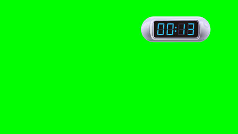15 second Digital Countdown Timer, Counter. Right, white, isolated Animation