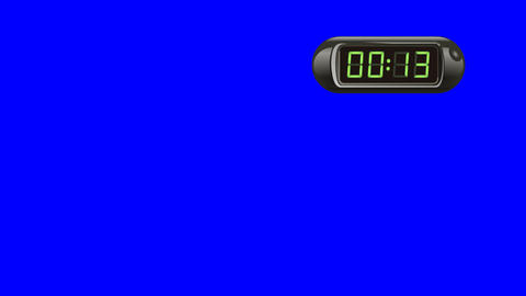 15 second Digital Countdown Timer, Counter. Right, black, isolated GIF