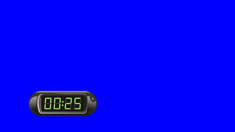 30 second Digital Countdown Timer, Counter. Left, black, isolated GIF