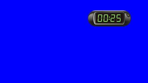 30 second Digital Countdown Timer, Counter. Right, black, isolated Animation