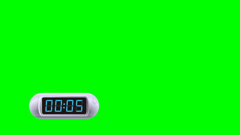 5 second Digital Countdown Timer, Counter. Left, white, isolated Animation