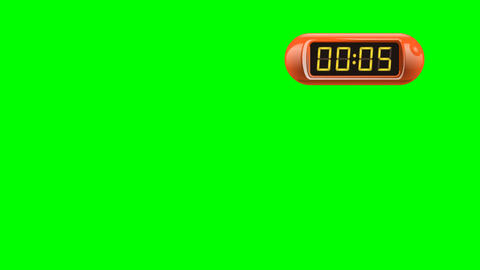 5 second Digital Countdown Timer, Counter. Right, red, isolated Animation