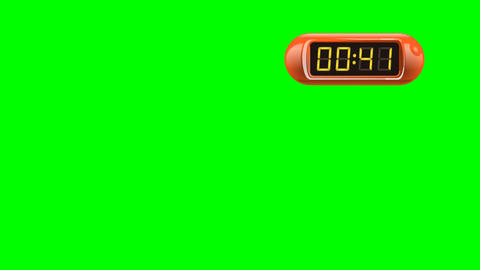 50 second Real time Digital Timer. Right, red, isolated, green screen Animation