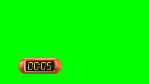 5 second Digital Countdown Timer, Counter. Left, red, isolated Animation