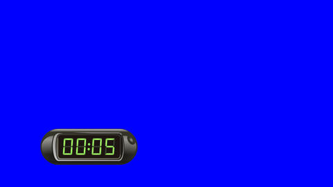 5 second Digital Countdown Timer, Counter. Left, black, isolated GIF