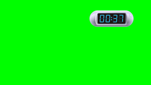 45 second Digital Countdown Timer, Counter. Right, white, isolated GIF