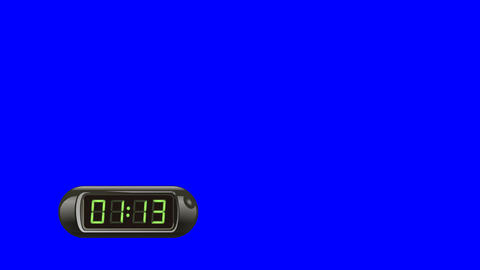 90 second Real time Digital Timer. Left, black, isolated, green screen Animation