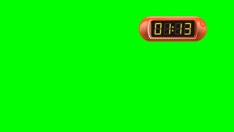 90 second Real time Digital Timer. Right, red, isolated, green screen Animation