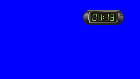 90 second Real time Digital Timer. Right, black, isolated, green screen Animation