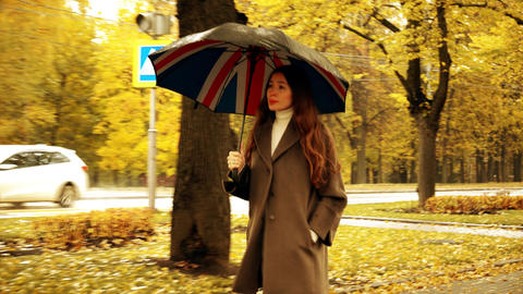 Beautiful young woman walking with umbrella along autumn alley on a rainy day Footage