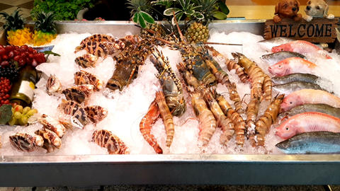 Close-up of sea food lies on the counter in front of the restaurant Footage