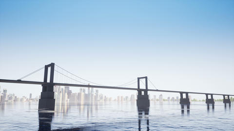 Bridge on the clear sky Footage
