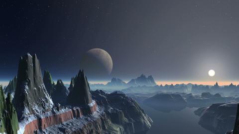 Sunset over Alien Planet Animation