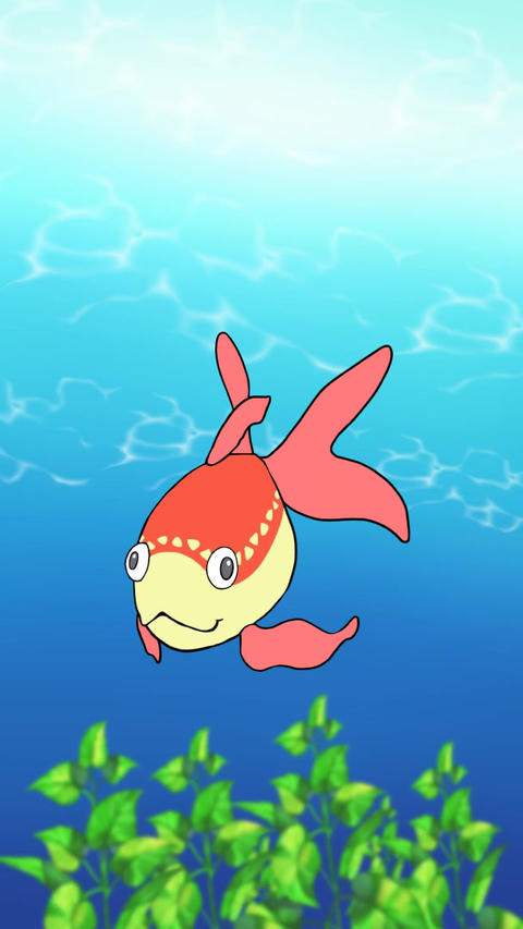 Vertically long goldfish Animation