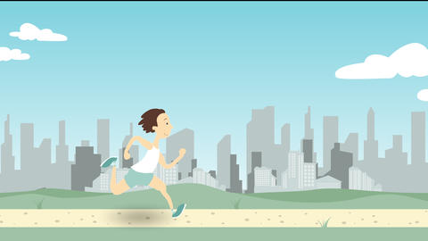Man running along park pathway against big city skyline. Loopable cartoon Footage