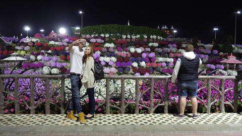 Dubai, UAE - January 18, 2018: people photographing multicolored flower bed with Footage