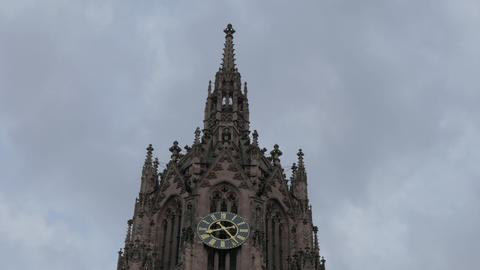 Cathedral tower with a clock - close-up 4K UHD 2160p footage with sky in Live Action