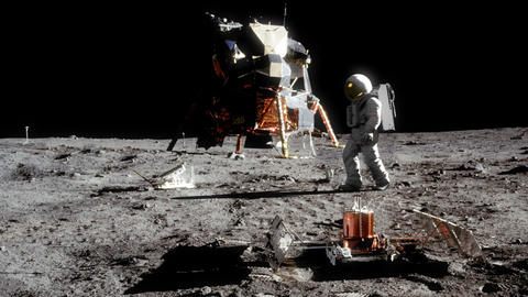 Highly realistic animation of an astronaut walking on the moon Footage