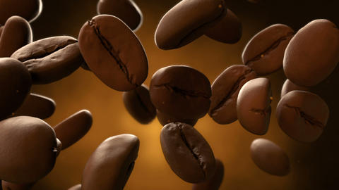 3d CGI footage of falling coffee beans and instant coffe dust. Seamless looping Archivo
