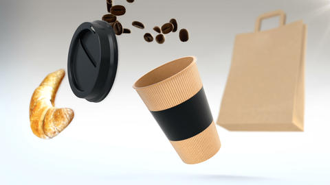3D CGI animation of paper cup flying in air and being filled with roasted coffee Footage