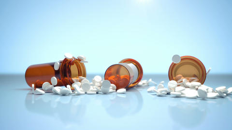 3D realistic CGI video of three containers with medical pills falling on blue Footage
