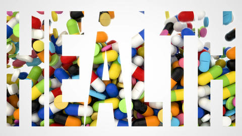 3D CGI video of colorful pills falling over white background and making word Footage