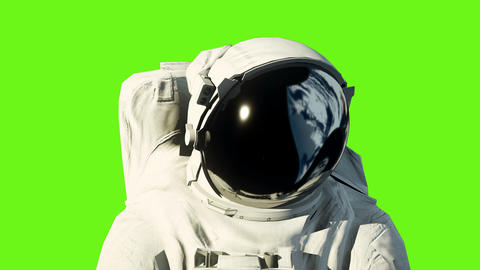 An astronaut on the moon next to his moon rover watching the Earth. Green screen Animation