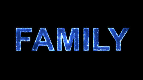 Blue lights form luminous text FAMILY. Appear, then disappear. Electric style Animation
