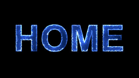 Blue lights form luminous text HOME. Appear, then disappear. Electric style Animation