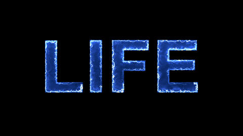 Blue lights form luminous text LIFE. Appear, then disappear. Electric style Animation