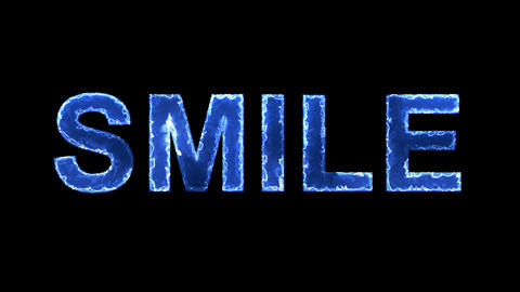 Blue lights form luminous text SMILE. Appear, then disappear. Electric style Animation