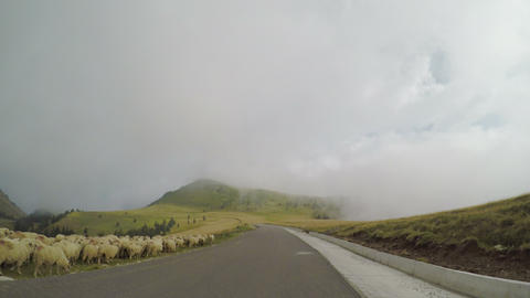 POV of pastoral mountain landscape seen from driving car wonderful panorama with Footage