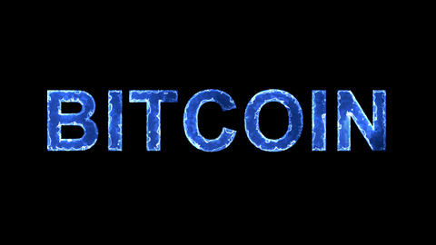 Blue lights form luminous crypto currency name BITCOIN. Appear, then disappear Animation