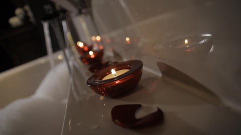 Aromatic Candle in Bath Footage
