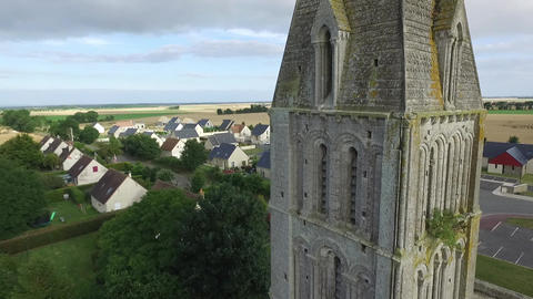 Church Steeple Aerial- France (Beny-sur-Mer, Normandy) ビデオ