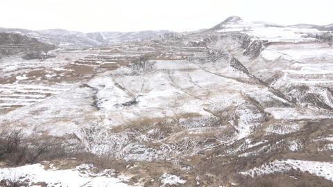 A snowy plain in a white plain Footage
