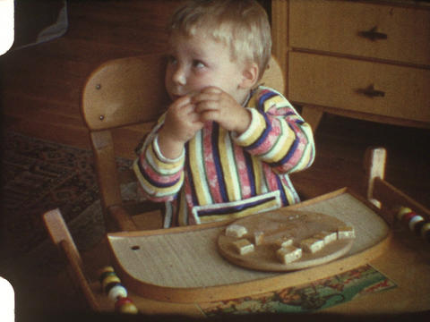 Baby eating bread 2 Footage