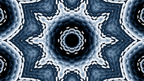 Hexagonal Black White Gray Kaleidoscope Motion Background Loop 1 Animación