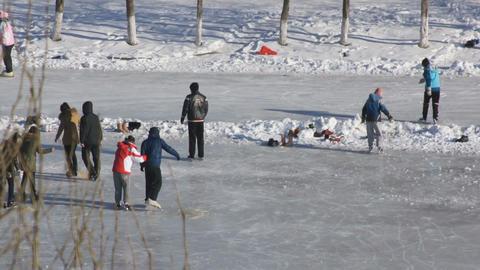 Ice Skating Rink 02 scene Stock Video Footage