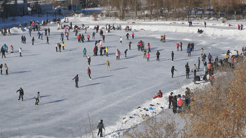 Ice Skating Rink 06 pan right Stock Video Footage