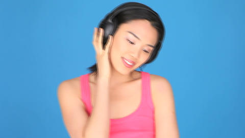 Woman Listening to Music Stock Video Footage