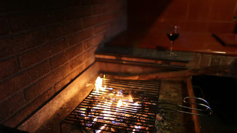 Barbecue with fire and glass of wine Footage