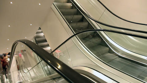 Moving elevator in european shopping mall Stock Video Footage