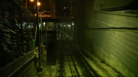 Moving funicular in subway tunnel, cabin view Footage