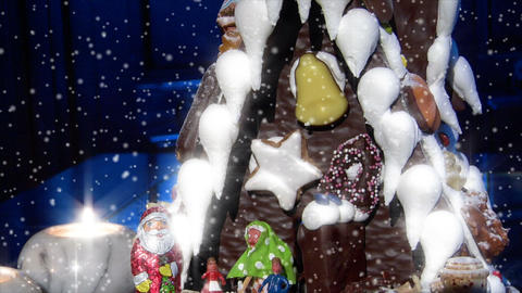german confectioner gingerbread house dolly down snow 10778 Stock Video Footage