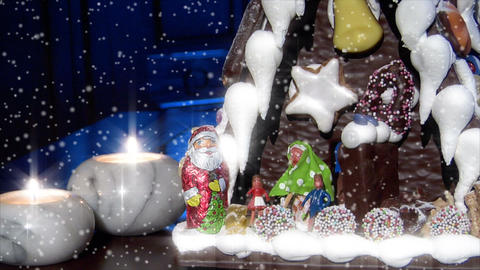 German Confectioner Gingerbread House Dolly Down Snow 10778 stock footage