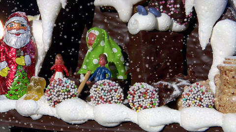 German Confectioner Gingerbread House Dolly Left Close Snow 10779 stock footage