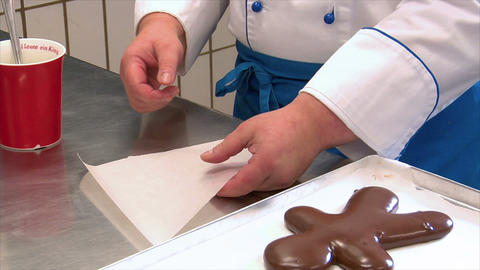 german confectioner build parchment paper pastry tube 10786 Stock Video Footage