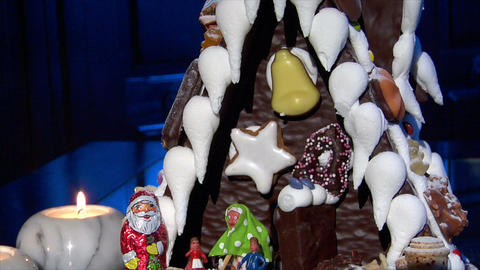 german confectioner gingerbread house dolly down clean 10792 Footage